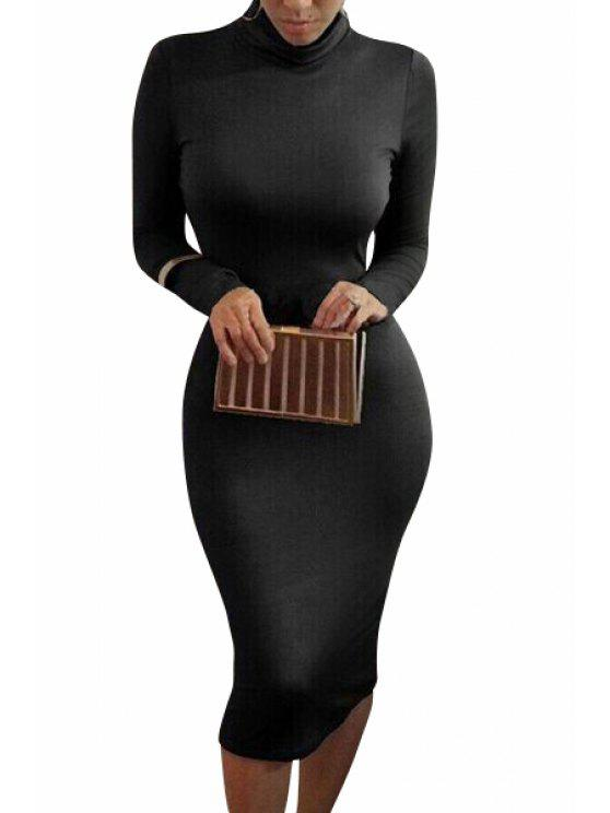 lady Turtle Neck Solid Color Bodycon Dress - BLACK S