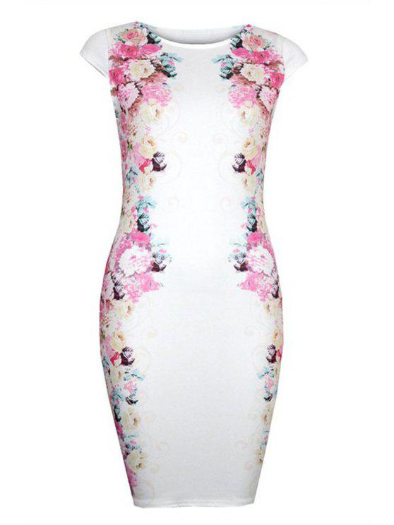 trendy Floral Print Short Sleeve Bodycon Dress - WHITE M