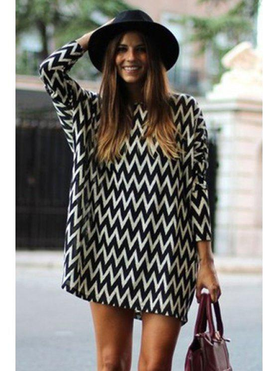shop Wavy Striped Long Sleeve Dress - WHITE AND BLACK XS
