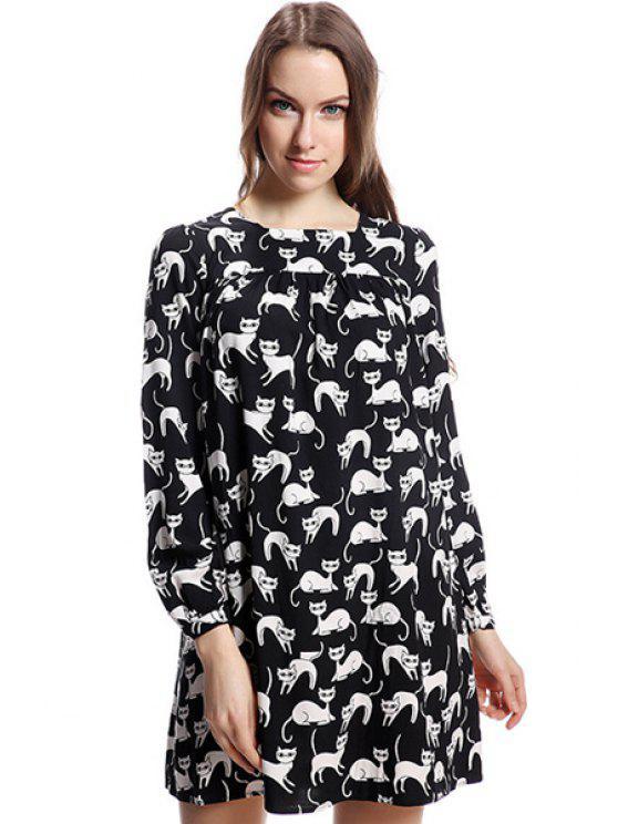 fashion Full Cat Print Long Sleeve Dress - BLACK XS