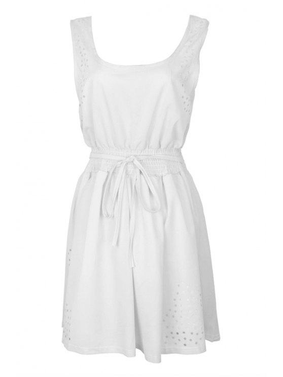 affordable Solid Color Straps Drawstring Dress - WHITE XS