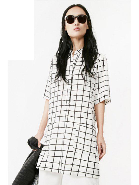 outfits Plaid Pocket Half Sleeve Dress - WHITE XS