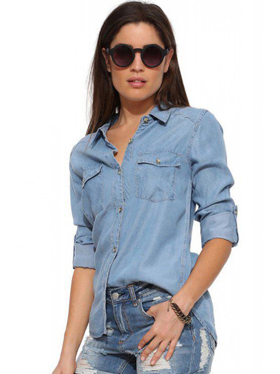 fashion Bleach Wash Pocket Denim Long Sleeve Shirt - BLUE M