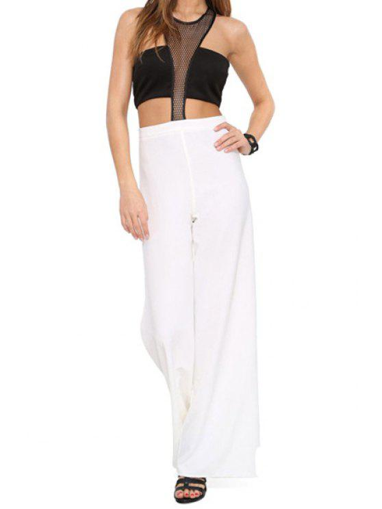 latest Voile Splicing Openwork Sleeveless Jumpsuit - WHITE AND BLACK XS