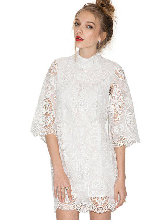 best Openwork Solid Color Lace Half Sleeve Dress - WHITE XS
