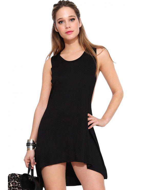 unique Backless Solid Color Asymmetrical Sleeveless Dress - BLACK XS