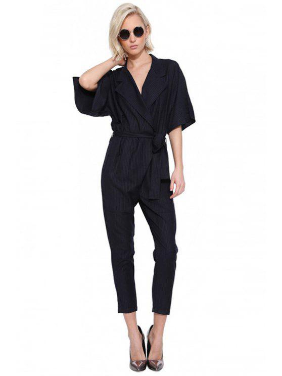 latest Stripe Tie-Up Half Sleeve Jumpsuit - NAVY BLUE XS