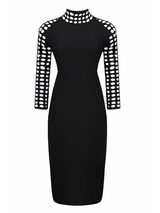 trendy Hollow Black 3/4 Sleeve Dress - BLACK S