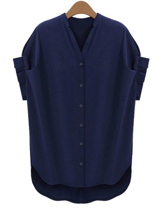 online Short Sleeve Solid Color Blouse - PURPLISH BLUE S