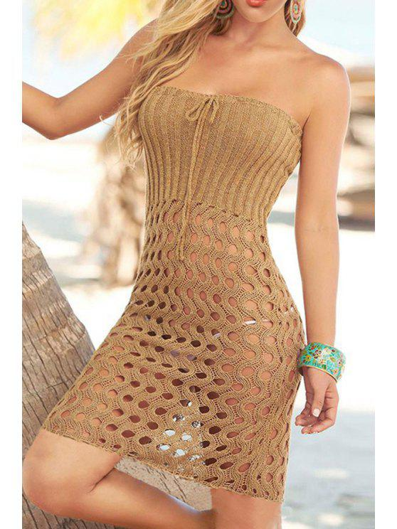 womens Strapless Hollow Crochet Dress - KHAKI ONE SIZE(FIT SIZE XS TO M)