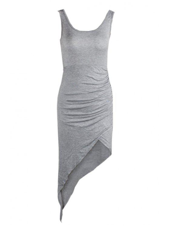 women's Gray Irregular Hem Sleeveless Dress - GRAY XS