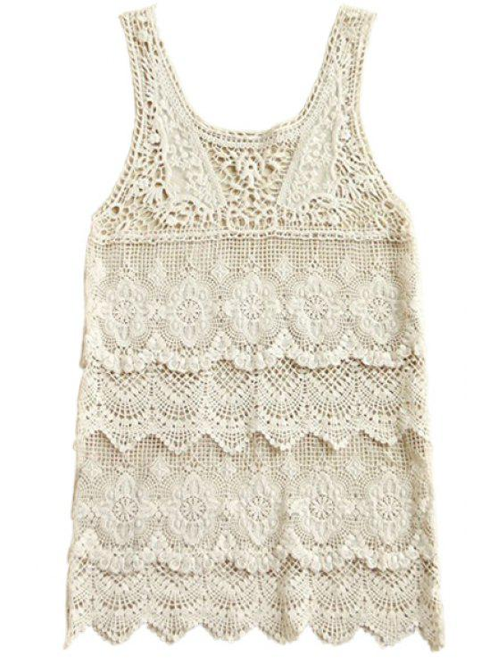 hot Scoop Neck Openwork Sleeveless Tank Top - OFF-WHITE ONE SIZE(FIT SIZE XS TO M)