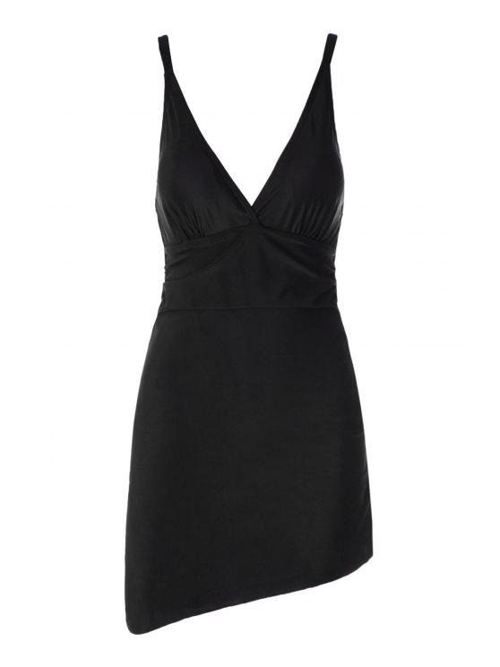 hot Plunging Neck Splicing One-Piece Swimwear - BLACK 2XL