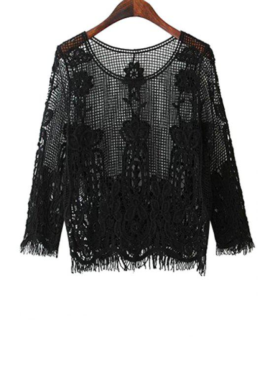 women's Solid Color Openwork Fringe 3/4 Sleeve T-Shirt - BLACK ONE SIZE(FIT SIZE XS TO M)