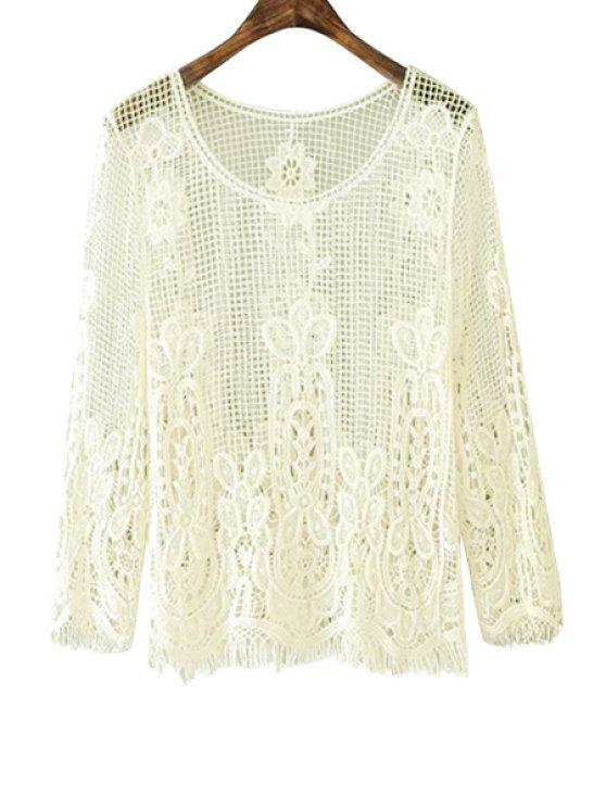 b9fcb40d7a158a 25% OFF] 2019 Solid Color Openwork Fringe 3/4 Sleeve T-Shirt In OFF ...