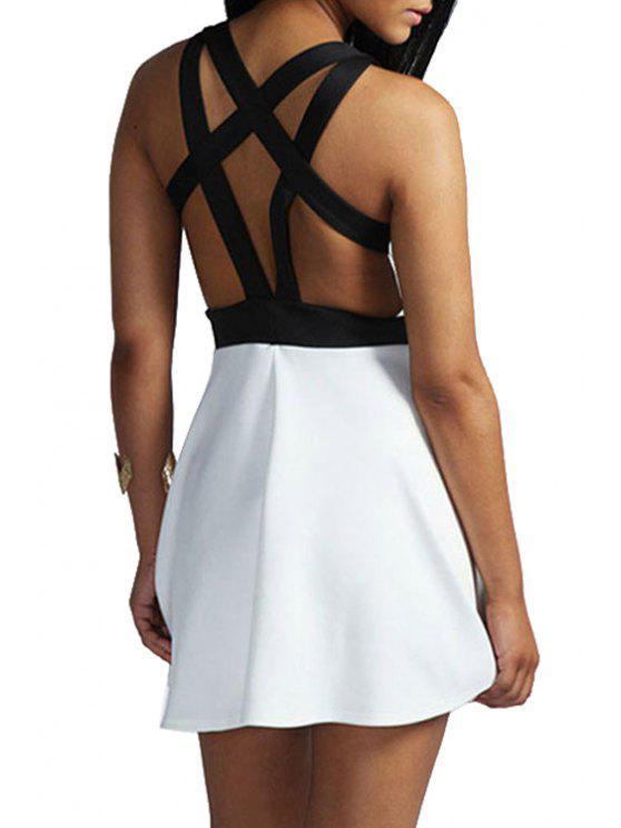 hot Black Bandage Backless Sleeveless Dress - WHITE ONE SIZE(FIT SIZE XS TO M)