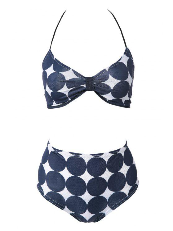 affordable Polka Dot Print Bikini Set - NAVY BLUE S