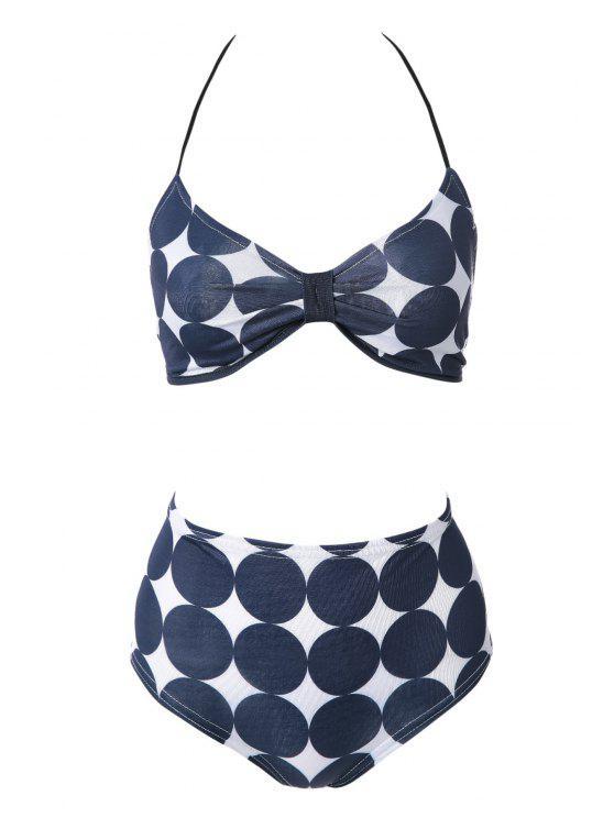 Polka Dot Bikini Set Imprimir - Azul marino L