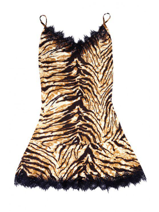 fashion Leopard Pattern Lace Splicing Sleeveless Dress - EARTHY S