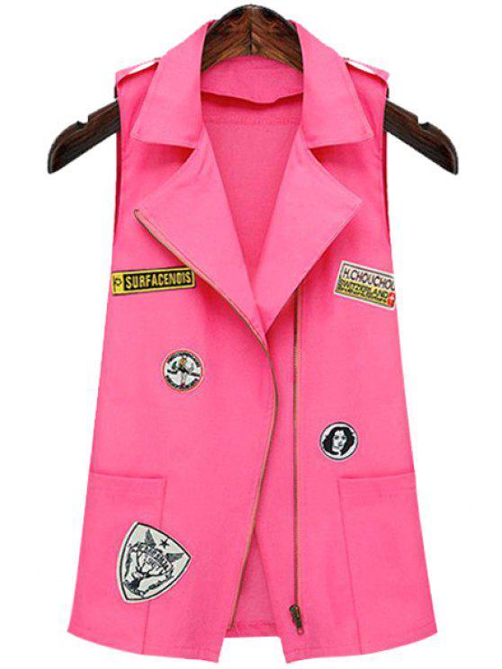 women Patch Design Lapel Waistcoat - PINK S