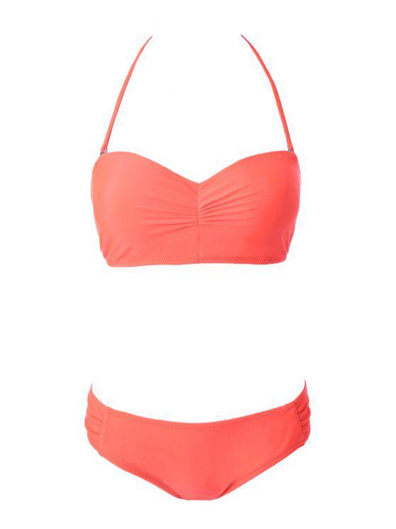 Color sólido sin tirantes con cordones de Bikini Set - Naranja S