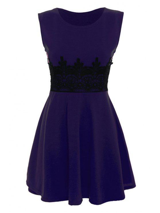 online Black Lace Splicing Sleeveless Dress - PURPLE M