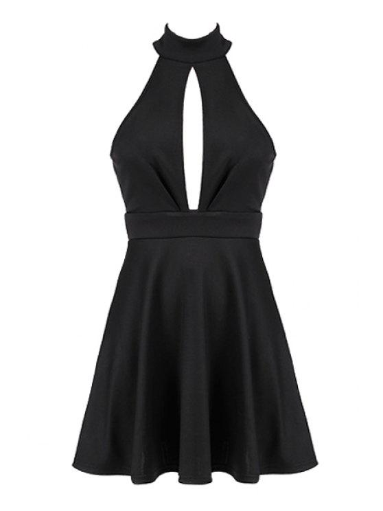 buy Stand-Up Collar Openwork Backless Dress - BLACK XL