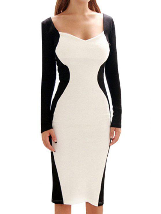 womens Color Block Back Slit Long Sleeve Dress - WHITE AND BLACK S