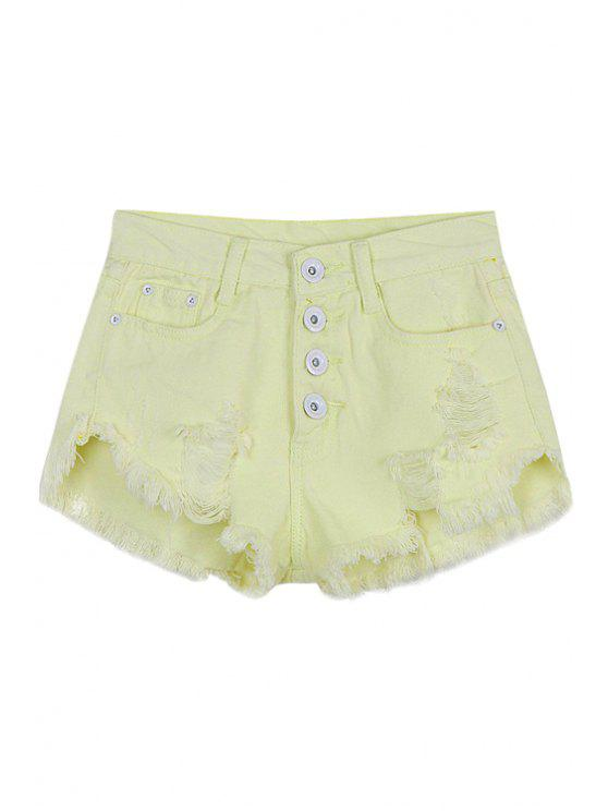 shop Yellow Denim Broken Hole Shorts - YELLOW S