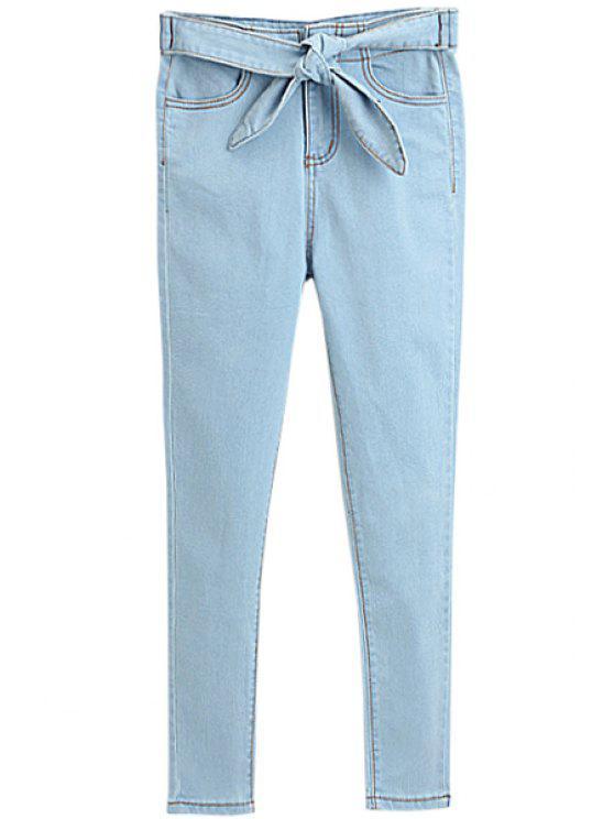 hot Solid Color Self-Tie Skinny Jeans - LIGHT BLUE S