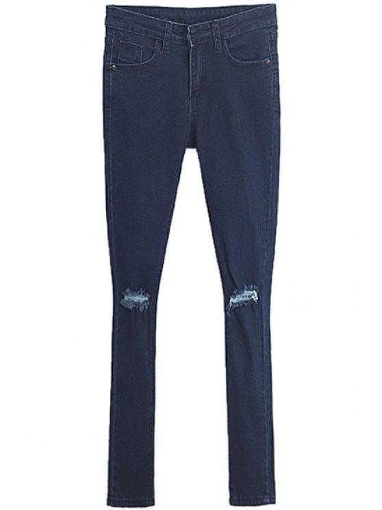 chic Broken Hole Low Waisted Skinny Jeans - PURPLISH BLUE 26