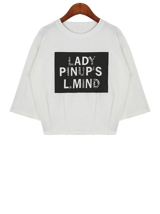 ladies Half Sleeves Letter Print T-Shirt - WHITE ONE SIZE(FIT SIZE XS TO M)