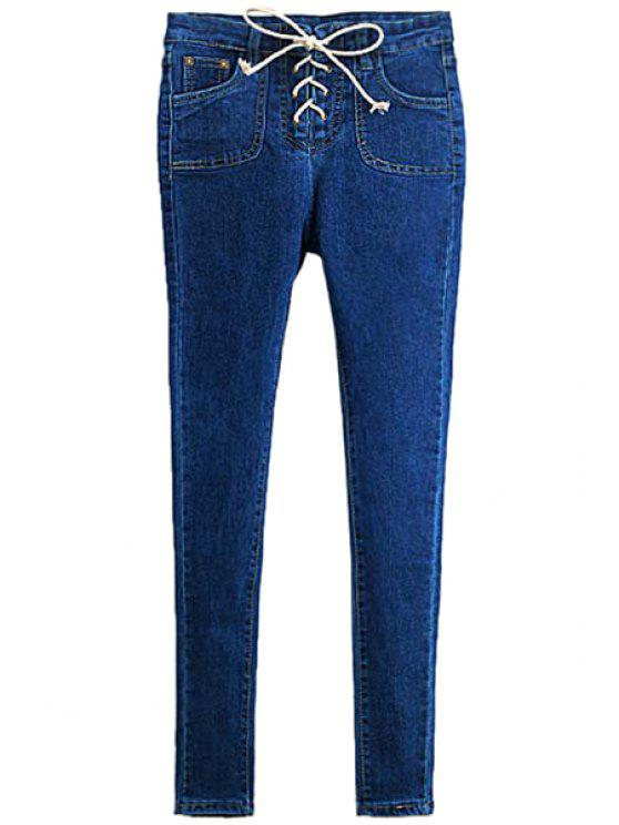 buy Solid Color Lace-Up Skinny Jeans - DEEP BLUE 26