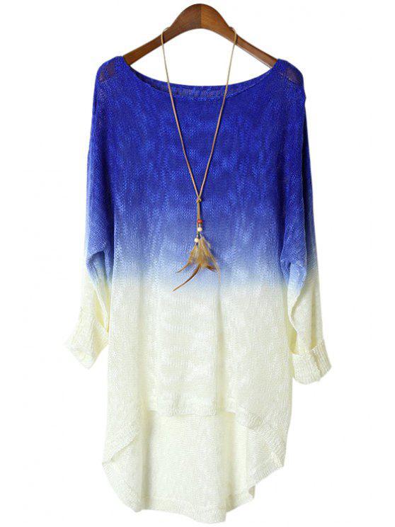 best Blue Spliced Long Sleeve Knitwear - SAPPHIRE BLUE ONE SIZE(FIT SIZE XS TO M)
