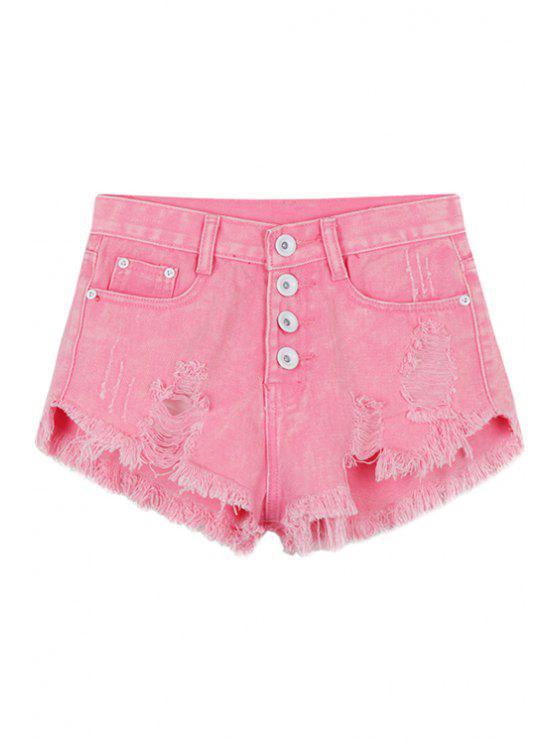 fashion Pink Broken Hole Denim Shorts - PINK S