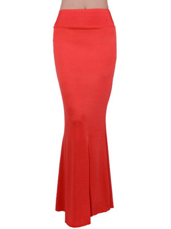 buy Solid Color Elastic Waist Wrapped Skirt - RED ONE SIZE(FIT SIZE XS TO M)