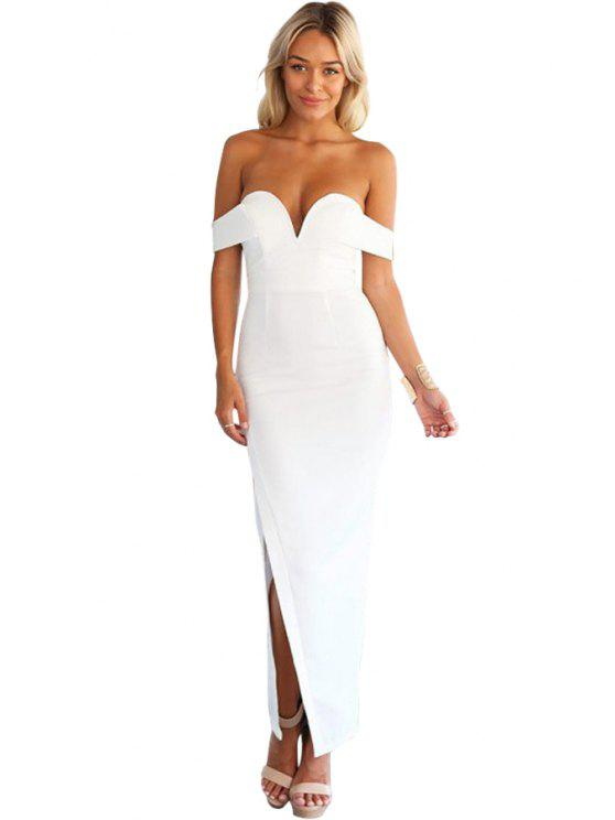 unique Strapless Solid Color Slit Dress - WHITE S