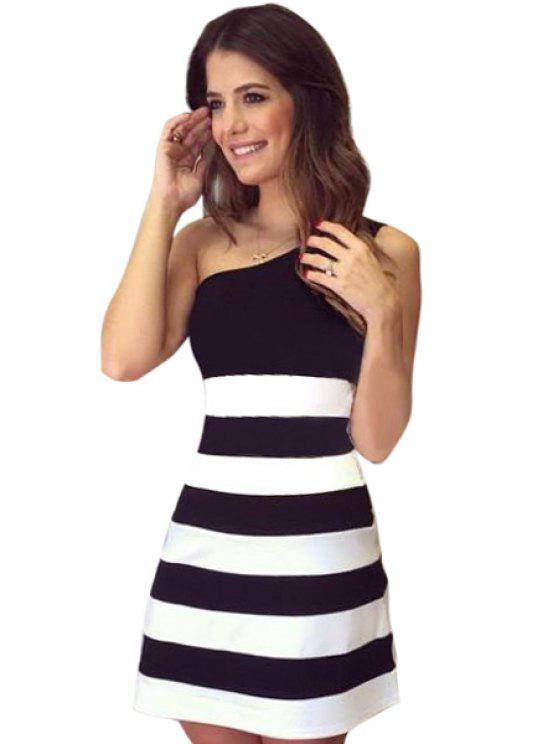 ladies One-Shoulder Stripe Sleeveless Dress - BLACK S