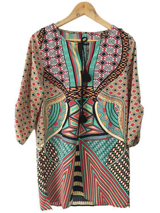 outfit Geometric Print Color Block Half Sleeve Dress - COLORMIX S