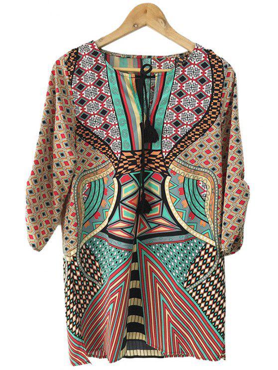 shop Geometric Print Color Block Half Sleeve Dress - COLORMIX L