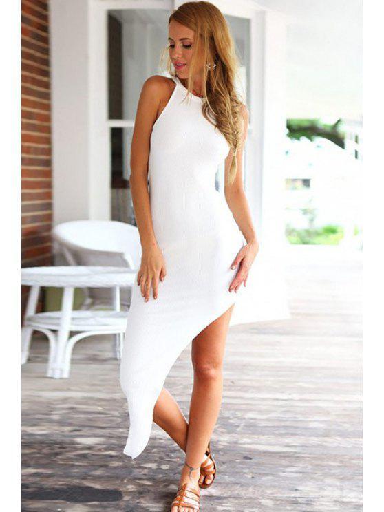 buy Solid Color Asymmetrical Sleeveless Dress - WHITE S