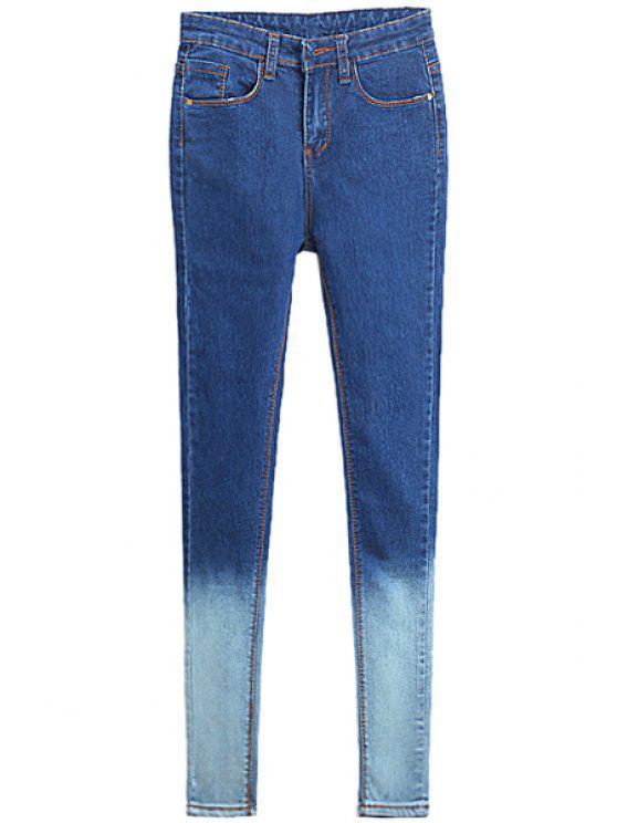 best Color Block Skinny Jeans - BLUE 28