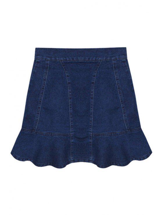 fancy Ruffles Spliced Denim Skirt - DEEP BLUE XS