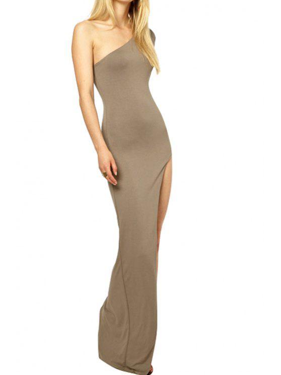 best One-Shoulder Solid Color Slit Dress - KHAKI M