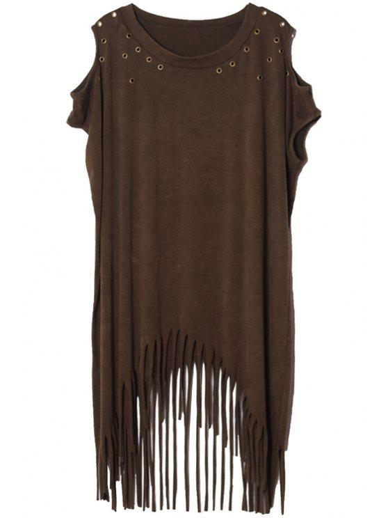 trendy Off-The-Shoulder Tassels T-Shirt - ARMY GREEN ONE SIZE(FIT SIZE XS TO M)