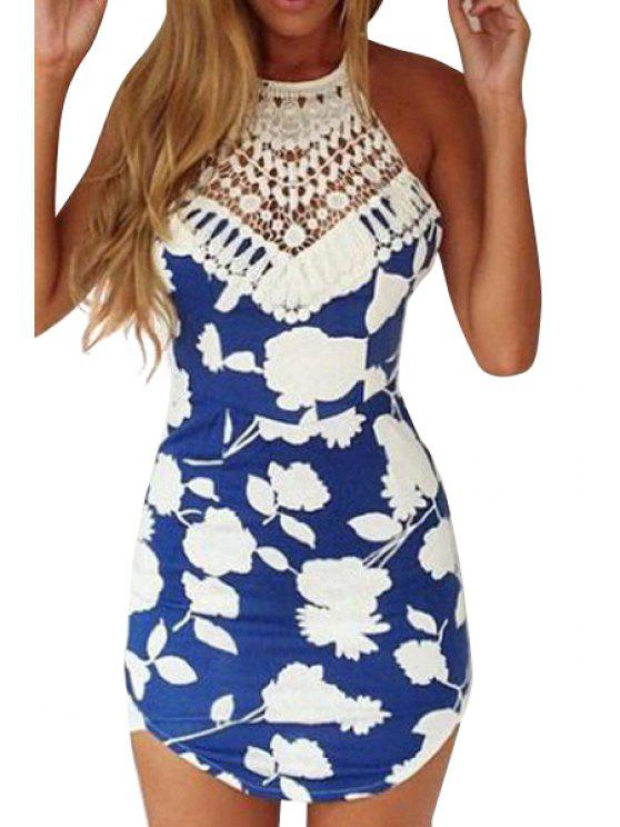 chic Floral Print Backless Lace Splicing Dress - BLUE AND WHITE S