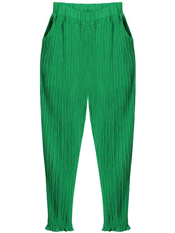 womens Pleated Chiffon Harem Pants - GREEN ONE SIZE(FIT SIZE XS TO M)