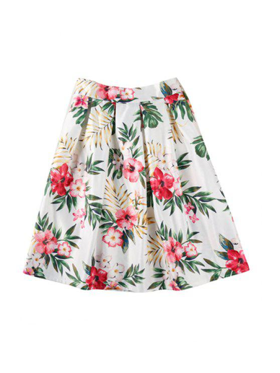 shop Leaves Red Floral Print Pleated Skirt - WHITE ONE SIZE(FIT SIZE XS TO M)