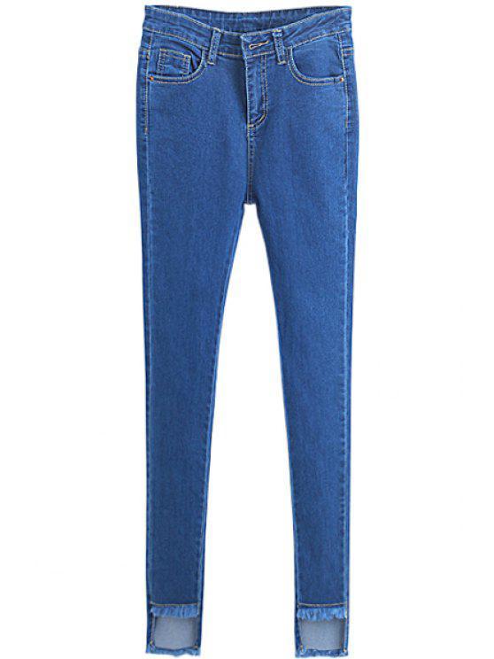 trendy Solid Color Irregular Hem Skinny Jeans - LIGHT BLUE 26