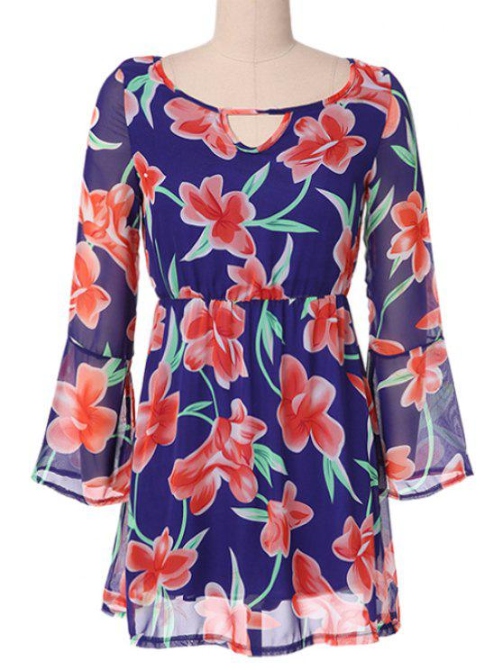 chic Floral Print Flare Sleeve Dress - BLUE XL